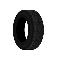 flat icon of black car tire with tread vector image