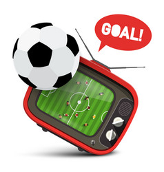 football ball with soccer match on retro tv and vector image