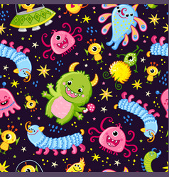 Funny pattern with aliens on a dark background vector