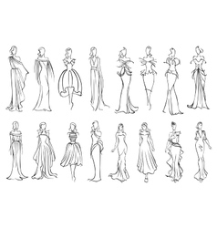 Girl in elegant evening and cocktail dresses icon vector