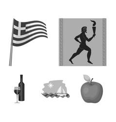 Greece running wine flag greece set collection vector