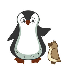grown parent penguine scolds little baby for vector image