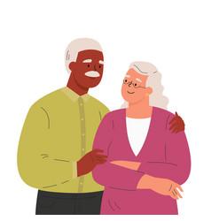 Happy elder man hugging his wife vector