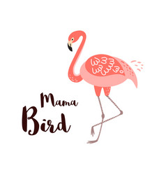 Happy mothers day card mama bird text pink vector