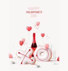 Happy valentines day flyer vector