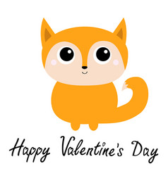 happy valentines day fox toy icon cute cartoon vector image