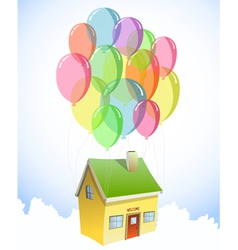 House with a lots of colorful balloons vector image