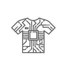 image clothes with an integrated circuit chip vector image