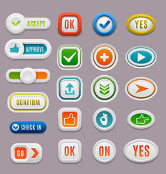 Interface ok buttons cancel yes approve vector