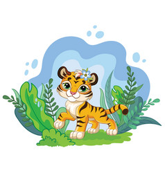Isolated cartoon tiger with plants vector