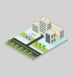 isometric hospital in on white background vector image