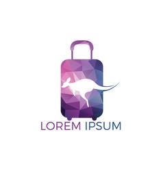 kangaroo and travel bag logo design vector image