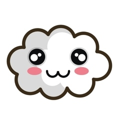 Kawaii cartoon white cloud vector