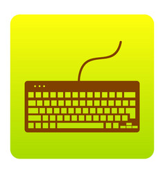 keyboard simple sign brown icon at green vector image