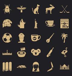 Landmark icons set simple style vector