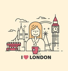 London icon with girl and tea vector