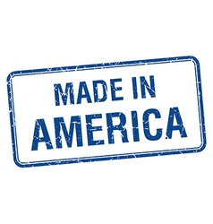 Made in America blue square isolated stamp vector