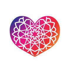 mandala heart shape print boho ethnic style vector image