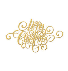 Merry christmas golden handwriting script vector