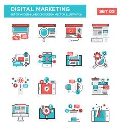 modern flat line icon concept digital marketing vector image
