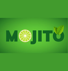 Mojito drink cocktail splash lemon juice vector