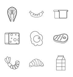 Morning meal icons set outline style vector