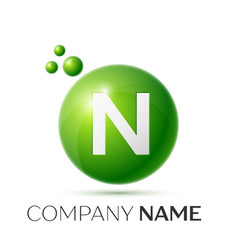 N letter splash green dots and bubbles number vector