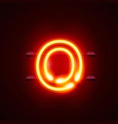Neon font letter o art design singboard vector