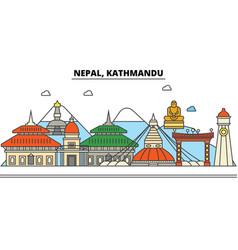Nepal kathmandu city skyline architecture vector