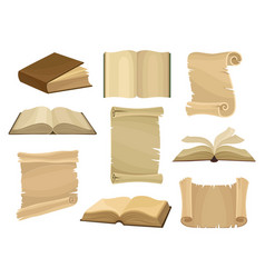 old books and paper scrolls or parchments set vector image