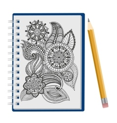 Opened notepad with pen vector