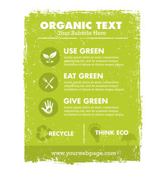 organic eco green banner background and vector image