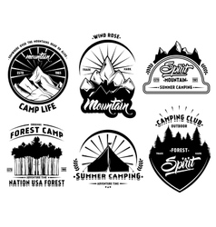 Outdoor Camping Labels Set vector image