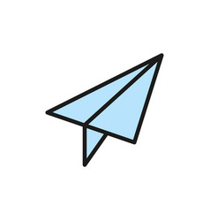 paper plane post communication flat color icon vector image