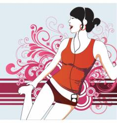 Party girl with headphones vector