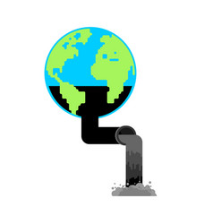 planet earth and pump jack and oil production vector image