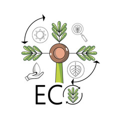 Plant with branches and leaves to ecology vector