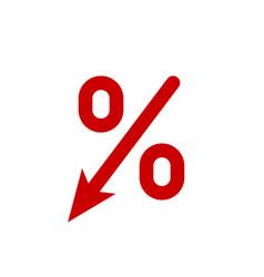 Profit decrease fall arrow and percent icon gdp vector
