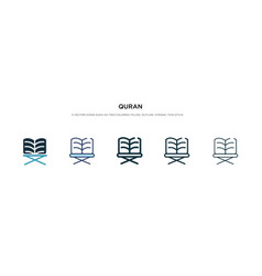 Quran icon in different style two colored and vector