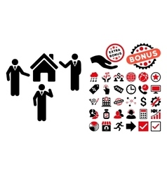 Realty Discuss Persons Flat Icon with Bonus vector image