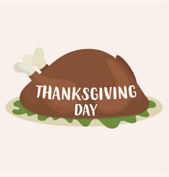 roast turkey for thanksgiving day vector image