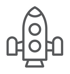 rocket line icon shuttle and astronomy spaceship vector image