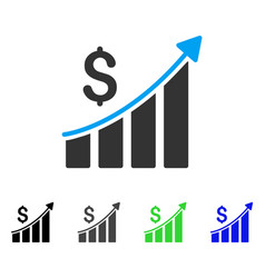 Sales growth bar chart flat icon vector