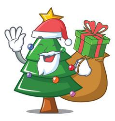santa with gift christmas tree character cartoon vector image