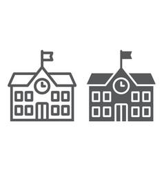 School building line and glyph icon school and vector