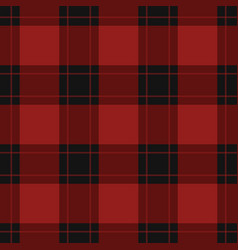 seamless black red tartan with red stripes vector image