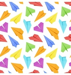 Seamless pattern with colored paper planes vector image