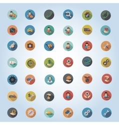 Service Round Flat Longshadow Icon Set vector