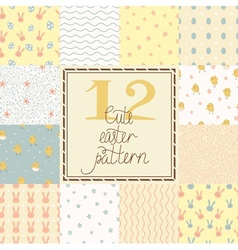Set of cute easter patterns vector image