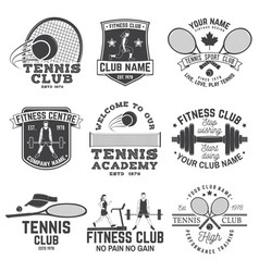 set of fitness and tennis club concept with girls vector image